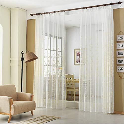 FACWAWF Maison Miroir Fleur Bord Fenêtre Criblage Brodé Fenêtre Criblage Rideau Salon Chambre Étude Balcon Semi-Occultant Rideau 250x270cm(2pcs)