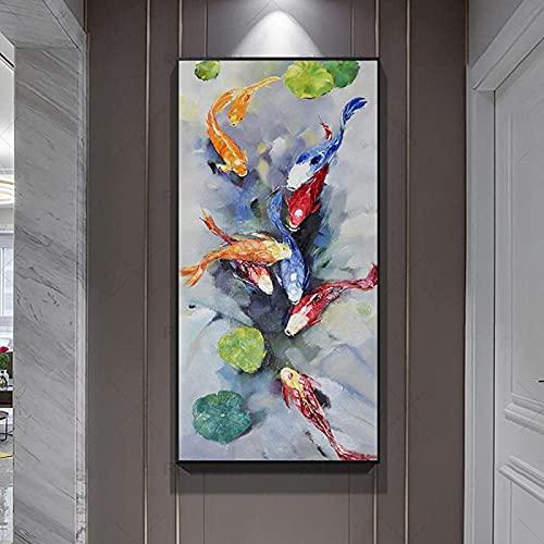 YHJK Póster Obra de Arte koi Fish Lotus impresión de póster Pintura al óleo impresión Moderna Abstracta Pescado Arte de la Pared galería de imágenes decoración del hogar 70x140cm sin Marco