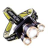 QWQ Stirnlampe, starkes Licht, wiederaufladbar, superhell, LED, für den Außenbereich, lange...