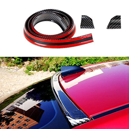 Carbon Fiber Rubber Rear Spoiler Tail Wing Universal Exterior Rear Spoiler Kit,Decorate Car-styling,DIY Refit Spoiler Car Accessories Fits for Most Cars Punch-Free Installation(Length: 4.9ft)