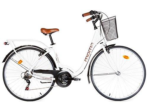 """Moma Bikes, Bicicletta Passeggio Citybike Shimano, Alluminio, 18 velocità, Ruota da 28"""", Bianco"""