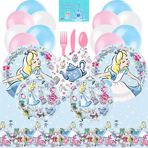 Lowest Price! Alice in Wonderland Party Supplies Tableware and Decorations Kit for 16 with Alice Lun...