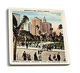 Juego de 4 posavasos de goma para bebidas, Miami, Florida, vista de Bayfront Park and Hotels, póster vintage, posavasos absorbentes, posavasos para protección de mesa, cocina, sala de bar, decoración