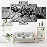 Xzfddn Pintura en lienzo blanco y negro pistola cuadro 5 piezas arte pared pintura modular papel pintado cartel impresión sala decoración del hogar