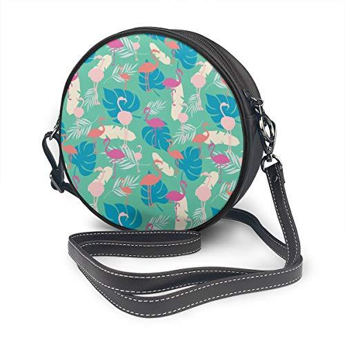 Rterss Runde Schultertasche aus echtem Leder, Vintage-Stil, verstellbarer Schulterriemen für Damen, heller tropischer Sommer, nahtloses Muster