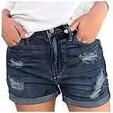 Taotanxi Short Jeans for Women Elastic Waist Casual Jean Shorts Slim Fit Stretch Water Wash Short Jeans Pocket Jeans