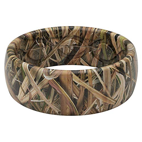Groove Life Silicone Wedding Ring for Men - Breathable Rubber Rings for Men, Lifetime Coverage, Unique Design, Comfort Fit Mens Ring - Original Camo Mossy Oak Blades Size 10