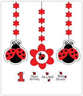 Creative Converting 3-Piece Hanging Decorations with Stickers, Ladybug Fancy - 995019