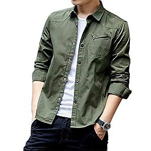 SUKESEM シャツ メンズ 長袖 カジュアル オックスフォードシャツ 無地 ゆったり インナーシャツ オシャレ ファッション アウター (緑, M)