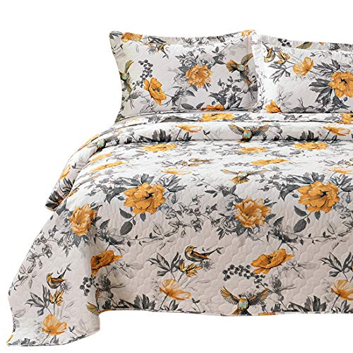 VITALE 3 Pieces King Size Bedspreads Coverlet Set,Vintage Floral Birds Quilts King with King Pillow Shams,Lightweight Bedspread Chinese Painting Countryside Blanket-Yellow White