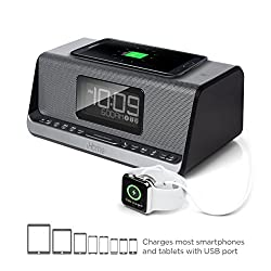 iHome iBN350 Alarm Clock FM NFC Bluetooth Radio with Lightning iPhone Qi Wireless Charging Dock Station for iPhone Xs, XS Max, XR, X, iPhone 8/7/6 Plus USB Port to Charge Any USB Device