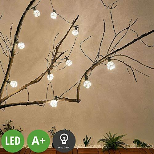 Lampenwelt LED Lichterketten 'Kelja' (Modern) in Schwarz (10 flammig, A+, inkl. Leuchtmittel) - Für Außen