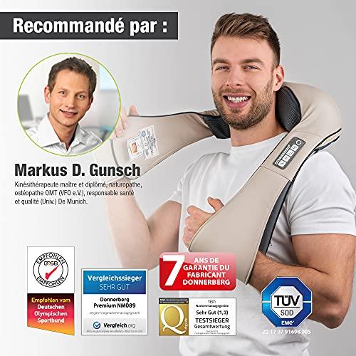 Donnerberg Shiatsu Masseur pour Dos Nuque 7 Ans de Garantie Marque Allemande Massage tissu Profonde avec Chaleur pour Soulager la douleur musculaire