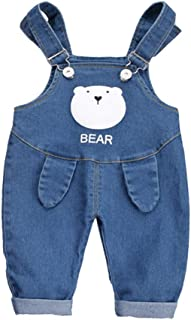 Xifamniy Infant Boys Spring&Autumn Pants Solid Color Cartoon Bear Pattern Denim Overalls