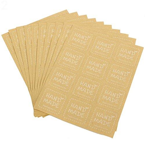 Bodhi2000® Handgefertigte Aufkleber Papier Aufkleber Etiketten für Seife Backen DIY Geschenkverpackung (10 Blatt x 12 Stück), Papier, rund, Einheitsgröße