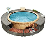 Hot Tub Spa Surround with Storage Area and 2 Wooden Spa Steps Poly Rattan Diameter 111.4' for Garden Backyard Patio (Color : Grey)