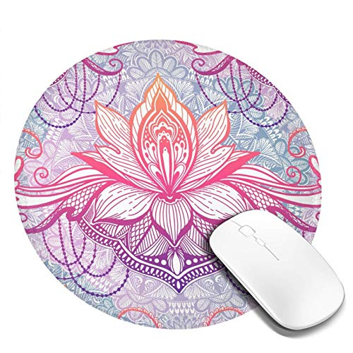 Mouse Pad with Stitched Edge,Cute Mouse Pad for Laptop,Computer - Non-Slip Small Home,Travel Mouse Pad for Women - Art Lotus Flower Mandala,Ethnic Abstract Print,Vintage Mini Colorful Boho Flow