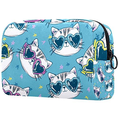 ATOMO Bolsa de maquillaje, bolsa de viaje de moda, neceser grande, organizador de maquillaje para mujeres, gato en gafas de sol patrón