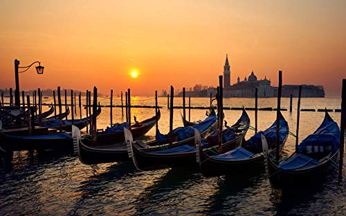 Puzzel 1000 Stukjes, Prachtige Zonsondergang In Venetië, Orange Sky Sea Boot,Brain Challenge Games