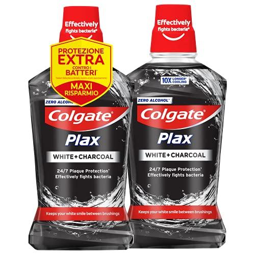 COLGATE Collutorio Plax Carbon+White Bipacco, con estratti di Carbone, per mantenere i denti bianchi e a lungo, 0% Alcol, 2x500 ml