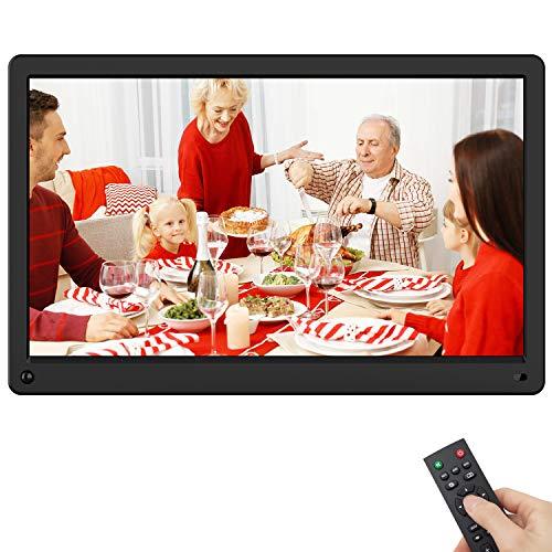 Rokurokuroku Cornice Foto Digitale, 15 Pollici 1080HD IPS Cornice Digitale con sensore di movimento, Foto, Video, Musica, Sveglia, Calendario, Supporto USB e Scheda SD (max 128G, non incluso), nero