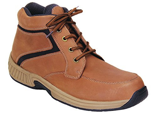 Orthofeet Proven Plantar Fasciitis, Foot Pain Relief. Extended Widths. Best Orthopedic Diabetic Men's Boots Highline Tan