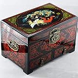 HAIHF Organizador de Joyería,Caja de joyería de Pingyao Empuje Laca joyería Caja Maquillaje Retro Vestir Caja Esmalte Color dragón y Phoenix 28cm con cajón