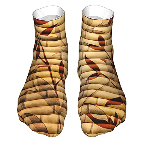 OUYouDeFangA Bambú Hojas Patrón Madera Adulto Calcetines Algodón Fresco Calcetines Cortos Para Yoga Senderismo Ciclismo Correr Fútbol