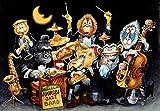 Jinlzs Jigsaw De Madera Animal Jazz Band Adultos Juguetes Para Niños Home Decor Series Jigsaw Jigsaw Juguetes Regalos-1500 Pieza,87X57Cm