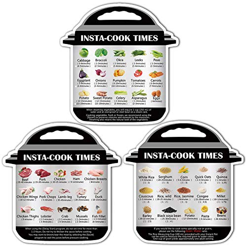 Instant Pot Cook Times Cheat-Sheet - Refrigerator Magnet Quick Reference Stickers Magnetic Cheat Sheet (Instant Pot Decals)