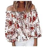 Summer T-Shirt Damen Short Einhals-Oberteil Casual Mode Kurzarm Tee Tops Rundhals Blouse Shirt Casual Cool Tshirt Blume Drucken Bluse Top Ladies Elegant Hemd Bluse