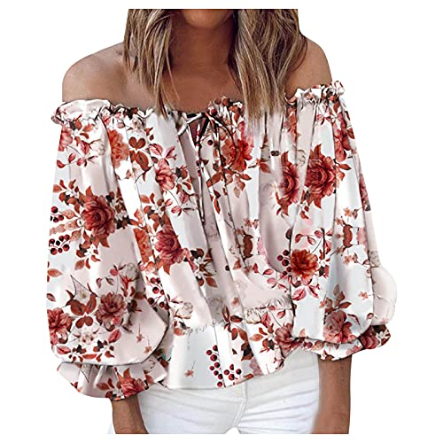 Summer T-Shirt Damen Short Einhals-Oberteil Casual Mode Kurzarm Tee Tops Rundhals Blouse Shirt Casual Cool Tshirt Blume Drucken Bluse Top Ladies Elegant Hemd Bluse