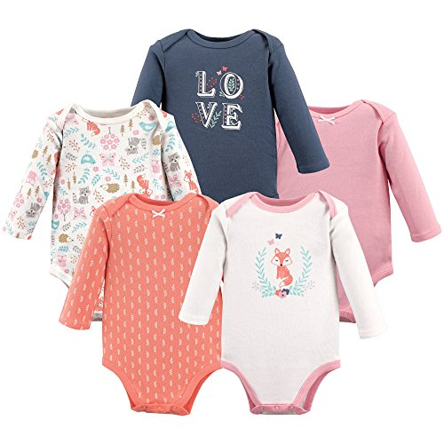 Hudson Baby Unisex Baby Cotton Long-sleeve Bodysuits, Woodland Fox, 3-6 Months US