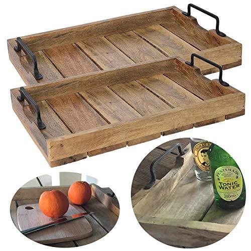LS-LebenStil 2X Mango-Holz Serviertablett 38x25x8cm Set Griff-Tablett Betttisch Betttablett