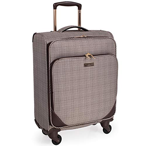 London Fog 23 Inch Suitcase on x4 Spinner Wheels - Soft Shell Luggage With Drag Handle 58x36x22 | Camberley LFL003 (Small)
