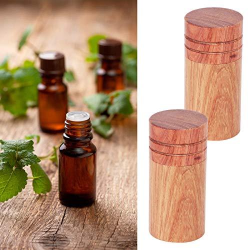 Botella pequeña, mini botella de viaje de madera, para almacenamiento de aceite esencial para mujeres de viaje(2.9 outer diameter, blue)