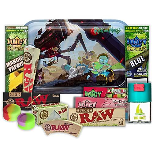Rick and Morty Zigarettenplatte 27,5 x 17,5 cm + The Boot Anti-Geruch + Juicy Blunts + Raw Papier 1 1/4 Black und Organico 5 Meter + Meister + Juicy Geschmackpapier + Silikonflaschen + KingSize