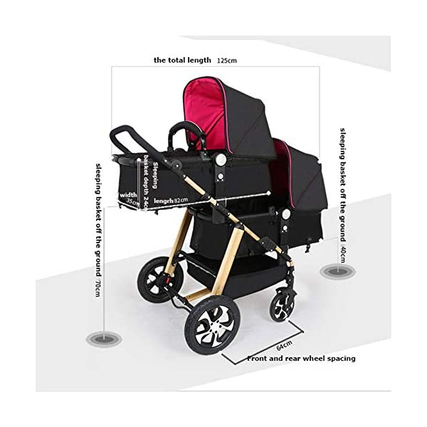 JXCC Double Strollers Baby Pram Tandem Buggy Newborn Pushchair Ultra Light Folding Child Shock Absorber Trolley Can Sit Half Lying 0-3 years old(Maximum loadable 50Kg baby) -Safe And Stylish A JXCC 1. {Four seasons can be} - The awning can be adjusted to multiple angles to easily cope with the sun, keep the baby warm in winter, and keep the windproof feet 2. {Multi-angle adjustable seat}: The seat can be adjusted between 0 and 175 degrees. The baby can sit and play, can lie flat, can lie down and drink milk, suitable for all occasions. Meet the needs of 0-3 year old baby. 3. {Multiple shock absorption design} - Rear wheel, two-wheel brake, wheel spring shockproof, baby is very safe 8