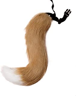 Fox Tail, Faux Fur Fox Tail Fancy Dress Halloween Cosplay Adjustable Furry Fox Tail Costume for Adult, Kids, Party (Style A)