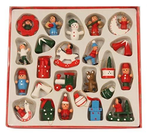 Melo Weihnachtsanhänger Christbaumschmuck Tannenbaumschmuck Holzfiguren X-Mas Weihnachten Advent - 24er Set