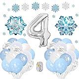 SPECOOL Frozen 4 Años Globos Decoración Cumpleaños Niña, Globo Fiesta de Globos Blancos Azules Confe...