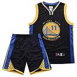 #11 Klay Thompson Golden State Warriors Hombre Camiseta de Baloncesto, 2-Pieza de la Parte Superior de Baloncesto Rendimiento Mangas y Pantalones Cortos Set,Negro,XXXL