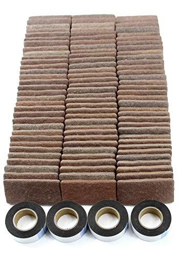 MB-3ダークブラウン 軽量レンガかるかるブリック Sサイズ(ミニサイズ) 100枚入 屋内用両面テープ付