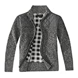 Gioberti Boy's Knitted Full Zip Cardigan Sweater with Soft Brushed Flannel Lining, Melange Charcoal, Size 10