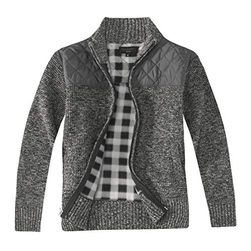 Gioberti Boy's Knitted Full Zip Cardigan Sweater with Soft Brushed Flannel Lining, Melange Charcoal, Size 8