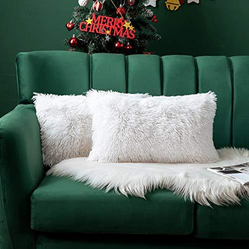 MIULEE Navidad Juego de 2 Cojines Protectores Faux Fur Throw Funda de cojín Deluxe Home Decorativo Cuadrados y Suaves Cojines PeloPara la Hogar Sofá Cama del12 x20 Inch 30x50cm Blanco