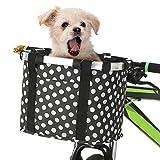 Lixada Cesta de Bicicleta Plegable Desmontable Cesta Delantera de Bicicleta para Pequeña Mascota Perro y Compras