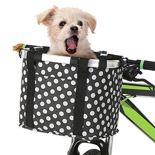 Lixada Cesta de Bicicleta Plegable Desmontable Bolso Portador de Perro Pequeño para Mascotas Cesta Delantera para Manillar de Bicicleta