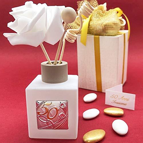 Ingrosso e Risparmio Porta perfumes de cristal con placa plateada y número 50 dorado con alianzas, detalles elegantes para bodas de oro, aniversario con caja de regalo (con caja Tiffany)