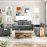 GAOPAN 3 Piece Polyester Blend Sectional Sofa with Soft Tufted Button Back Cushion, Living Room Furniture Set Include Upholstered Three Seater Couch, Loveseat and Single Armchair,Grayish Green